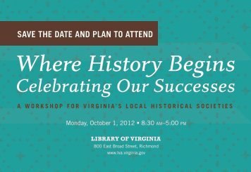 Where History Begins - Library of Virginia