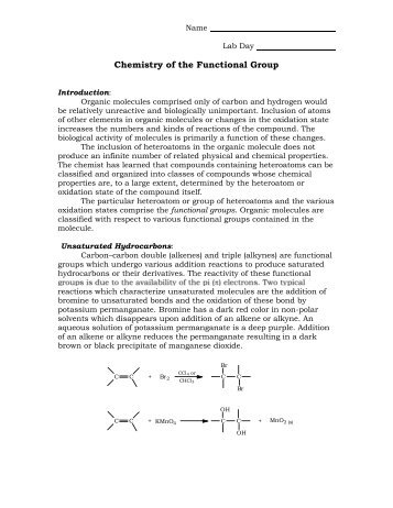 Chemistry of the Functional Group