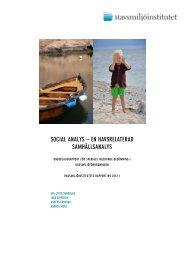 social analys – en havsrelaterad samhällsanalys - Havsmiljöinstitutet