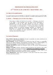 PROPOSITION DE PROGRAMMATION 11ÈME FESTIVAL DU ...