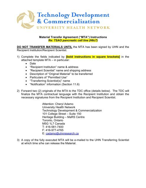 Material Transfer Agreement Mta Instructions Uhn Research
