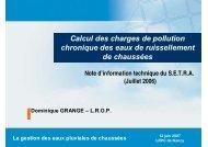 Calcul des charges de pollution chronique des ... - Le CETE de l'Est