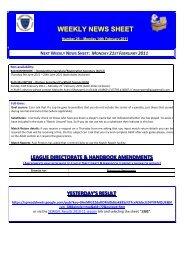 next weekly news sheet: monday 21st february 2011