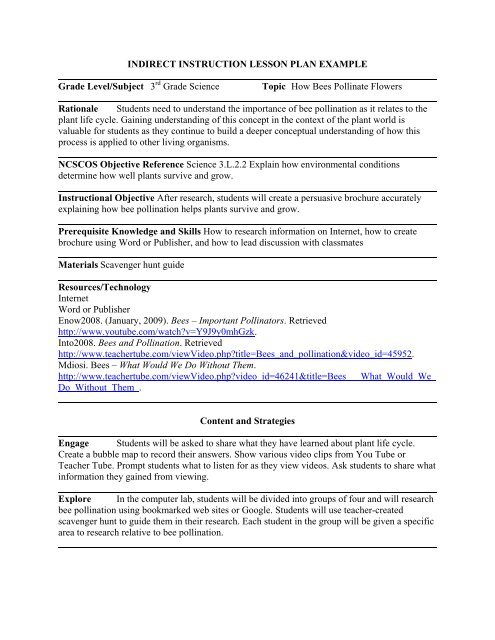 Indirect Instruction Lesson Plan Example Grade Level