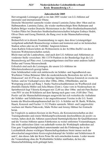 Sportliche Bilanz 2005 - Leichtathletik Braunschweig