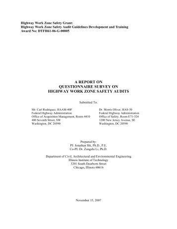 a report on questionnaire survey on highway work zone safety audits