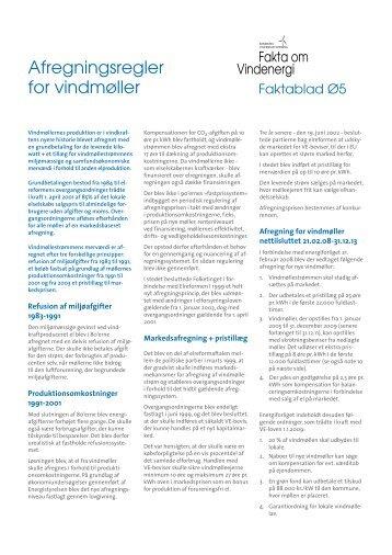 Afregningsregler for vindmøller - Danmarks Vindmølleforening