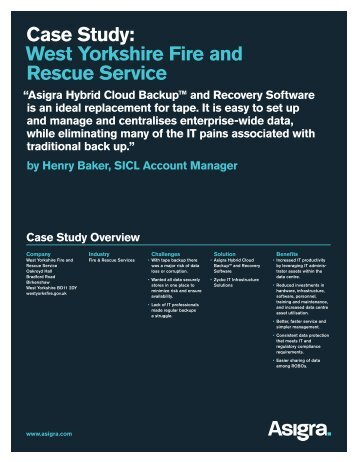 Case Study: West Yorkshire Fire and Rescue Service - Asigra