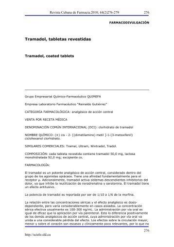 Tramadol, tabletas revestidas - SciELO