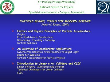 An Introduction to particle Accelerators - National Centre for Physics