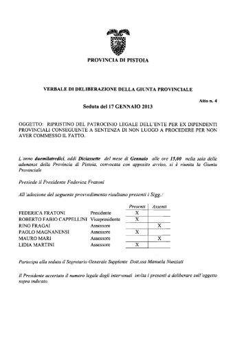 PROVINCIA DI PISTOIA Seduta del 17 GENNAIO 2013 - Utgpistoia.it
