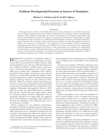 Nonlinear Developmental Processes as Sources of ... - Genetics
