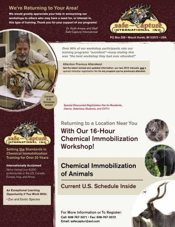 With Our 16-Hour Chemical Immobilization Workshop! - School of ...