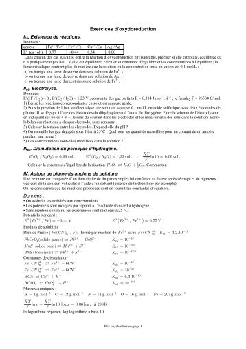 Exercices d'oxydoréduction ( ) ( )
