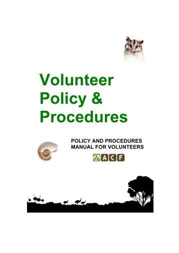 Policies and Procedures Manual for Volunteers - Australian ...