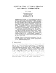 Polylithic Modeling and Solution Approaches Using Algebraic ...