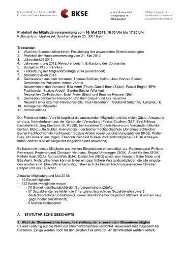 Protokoll der Mitgliederversammlung vom 16.5.2013 - Berner ...