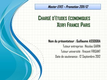 Télécharger les slides de la soutenance - Master Économie Appliquée