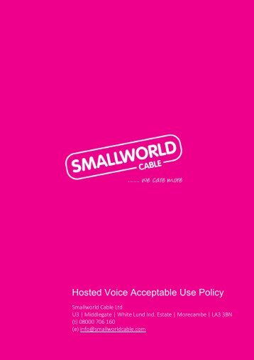 Hosted Voice Acceptable Use Policy - Smallworld
