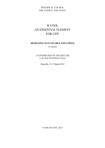 WATER, AN ESSENTIAL ELEMENT FOR LIFE