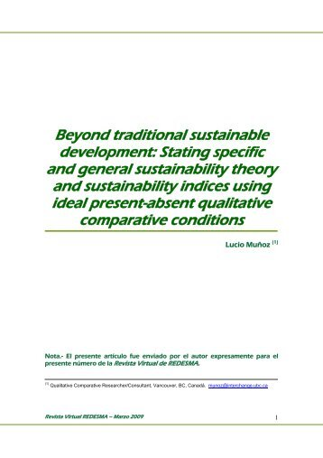 Beyond traditional sustainable development - Revista Virtual de ...