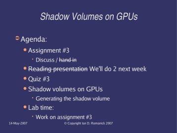 Shadow Volumes on GPUs - FreeDesktop.Org