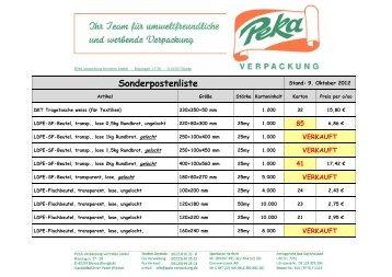 Sonderpostenliste - PEKA-Verpackung, HDPE-Tragetaschen, LDPE ...
