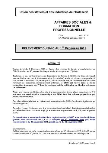 Relèvement du SMIC au 1er décembre 2011.