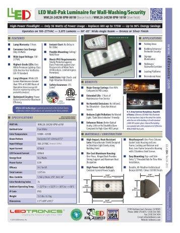 LED Wall-Pak Luminaire for Wall-Washing/Security - Ledtronics ...