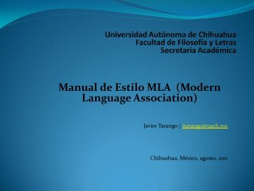 Manual de Estilo MLA (Modern Language Association)