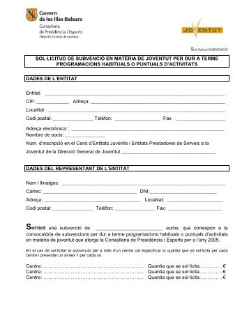 ssol·licitud de subvenció en matèria de joventut per dur a ... - Infojove