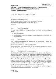 Reglement über die Parteientschädigung und die ... - admin.ch