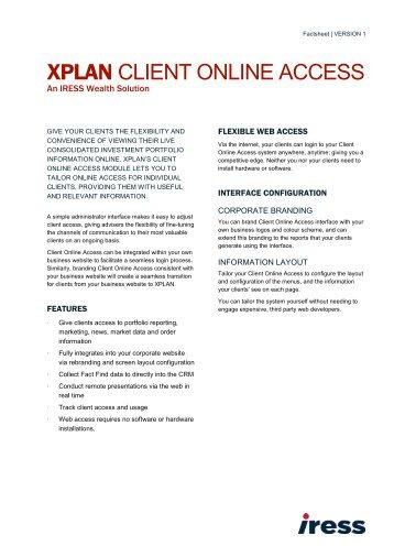 XPLAN Client Online Access Factsheet - IRESS New Zealand