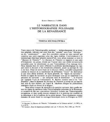 le narrateur dans l'historiographie polonaise de ... - Europaorientalis.it
