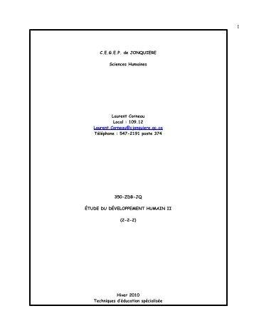 ÉTUDE DU DÉVELOPPEMENT HUMAIN II 350-ZDB-JQ - Sciences ...