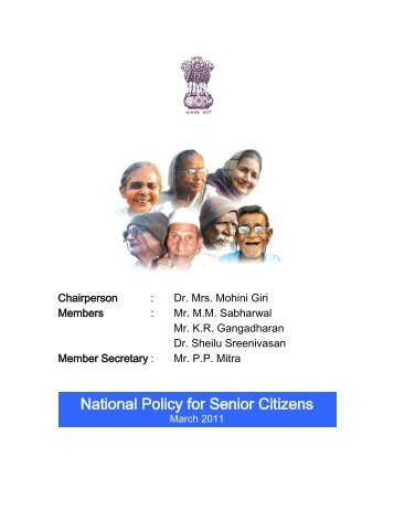National Policy for Senior Citizens - Ministry of Social Justice and ...
