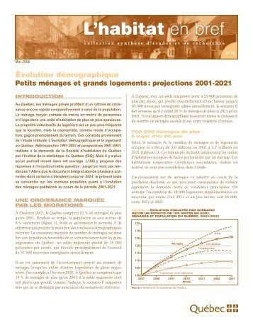 Petits ménages et grands logements - Société d'habitation du Québec