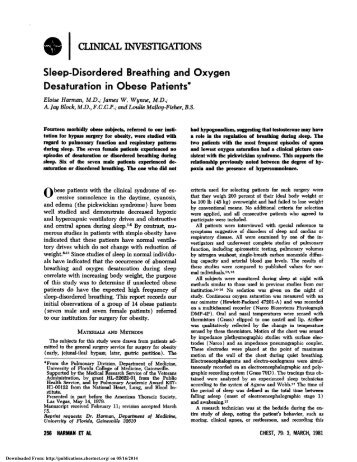 Sleep-Disordered Breathing and Oxygen Desaturation in Obese ...