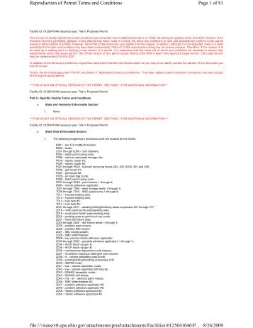 Page 1 of 81 Reproduction of Permit Terms and Conditions 8/26 ...