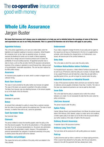 Whole Life Assurance Jargon Buster - The Co-operative Insurance