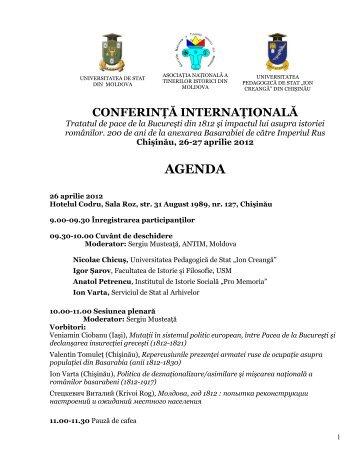 Agenda conferinţei - Asociatia Tinerilor Istorici din Moldova