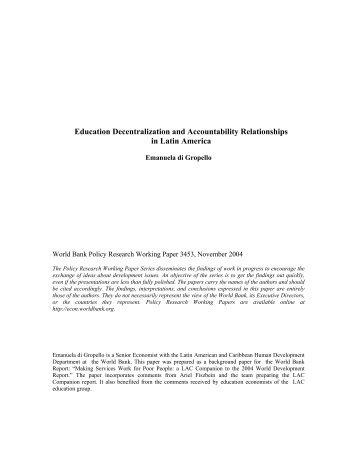 Education Decentralization and Accountability ... - World Bank