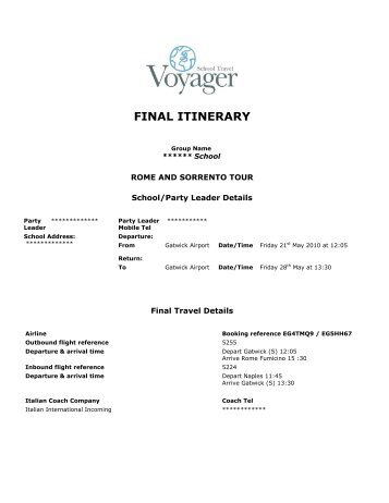 Rome & Sorrento Sample Itinerary - School Travel