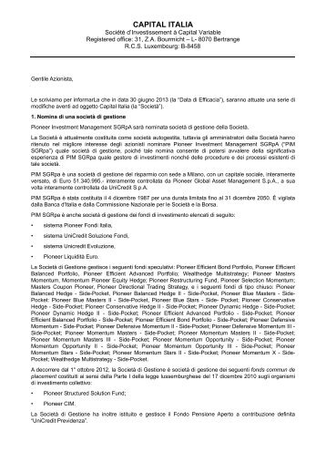 Lettera agli Azionisti - Pioneer Investments
