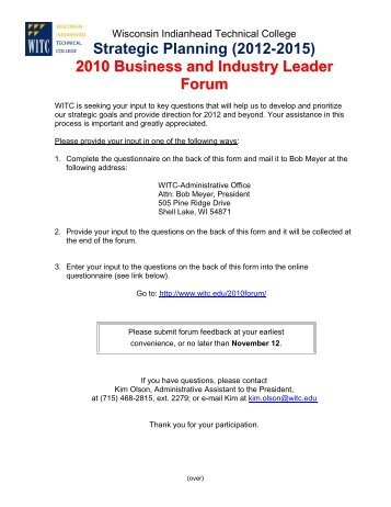 2010 Business and Industry Leader Forum - Wisconsin Indianhead ...
