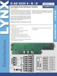 Dual Digital Audio Distribution Amplifier - LYNX Technik AG