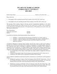 incarnate word academy enrollment contract 2012-2013