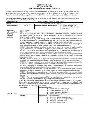 Convocatoria IG-2012-01 - Instituto Nacional de Geriatría