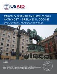 zakon o finansiranju političkih aktivnosti - srbija 2011. godine - IFES