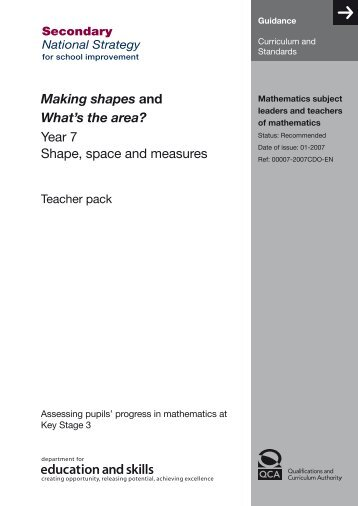 Making shapes and What's the area? Year 7 Shape, space and ...